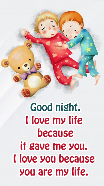 Good Night. I Love My Life Because It Gave Me You.