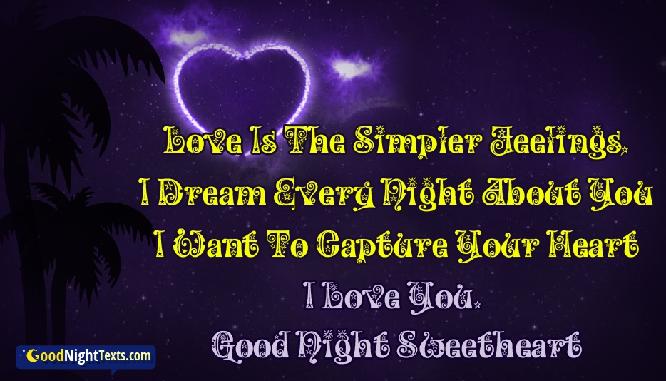 Good Night Text to My Girlfriend - Love Is The Simpler Feelings, I Dream Every Night About You I Want To Capture Your Heart. I Love You. Good Night Sweetheart