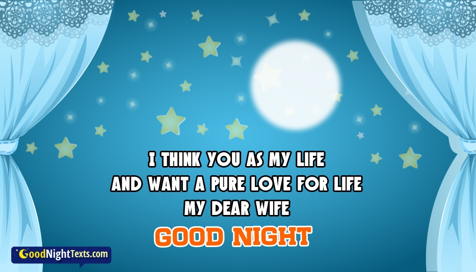 I Think You as My Life And Want a Pure Love for Life My Dear Wife Good Night