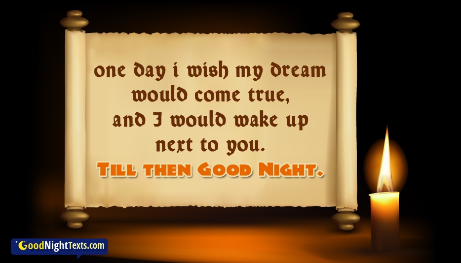 One Day I Wish My Dream Would Come True, and I Would Wake Up Next to You. Till Then Good Night