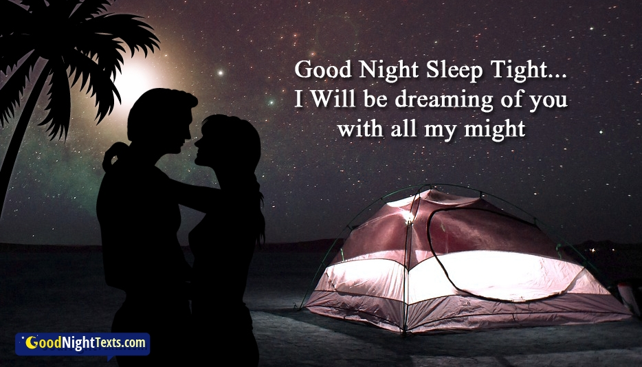 Romantic Good Night SMS for Wife - Good Night Sleep Tight...I Will be Dreaming of You with all My Might
