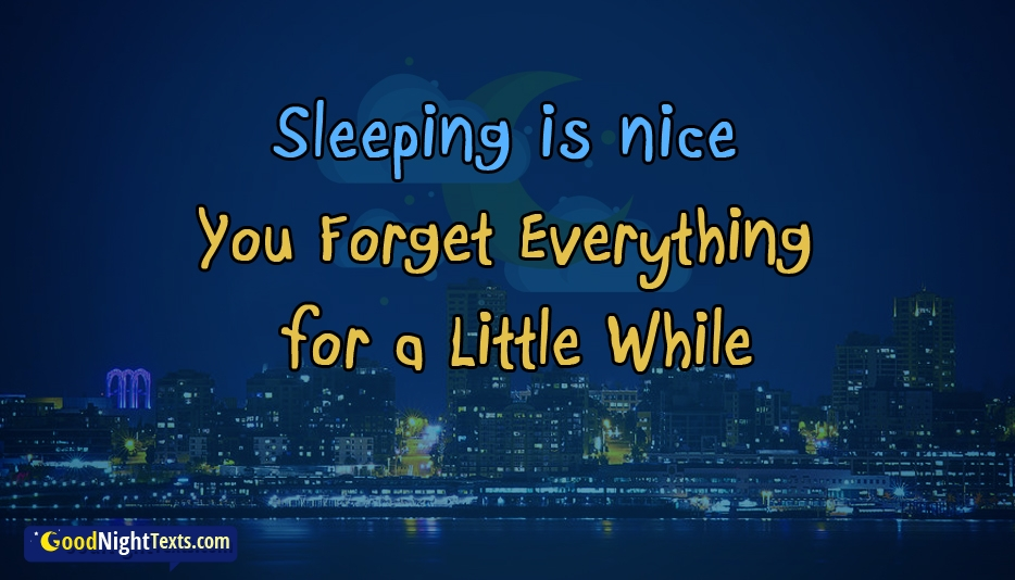 Sleeping is Nice. You Forget Everything for a Little While. Good Night Sweet Dreams - Good Night Texts