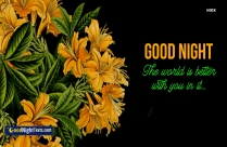 Romantic Good Night Messages with Yellow Flowers