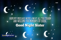 Good Night Messages Sister